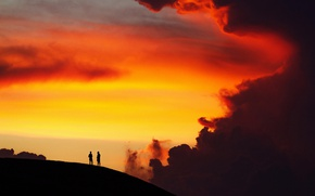 Картинка twilight, nature, sunset, cloud, hill, dusk, men, silhouettes, breathless