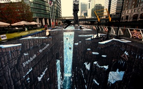 Картинка прыжок, рисунок, Лондон, deviantart, jamielawrence, 3D мелом