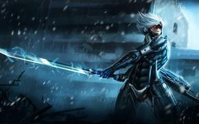 Обои энергия, Raiden, меч, броня, воин, Metal Gear Rising