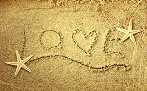 Картинка песок, любовь, сердце, звезда, love, слова