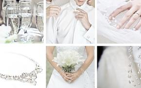 Картинка белый, праздник, коллаж, бокалы, украшение, невеста, свадьба, жених