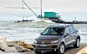 Картинка Море, Причал, Volkswagen, Touareg, Внедорожник, Туарег