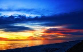Обои закат, пейзаж, небо, море