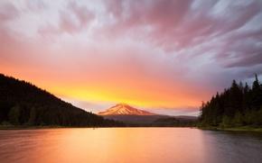 Картинка облака, закат, горы, Озеро