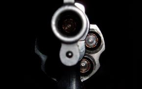 Обои черное, патроны, револьвер, дуло