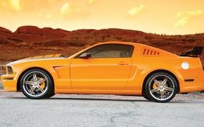 Картинка Ford, Небо, Дорога, Форд, Мустанг, Orange, Mustang GT