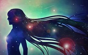 Картинка девушка, космос, звезды, силуэт, профиль, длинные волосы