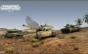 Картинка challenger 2, танки, armored warfare, т-80, пустыня, leopard 2A5