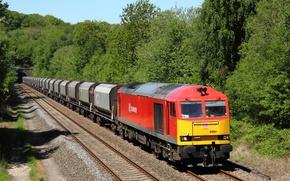 Обои локомотив, путь, тоннель, поезд, деревья, железная дорога, вагоны