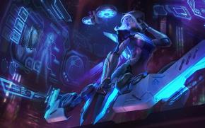 Картинка девушка, фантастика, арт, лучник, League of Legends, cyber, ashe, frost archer