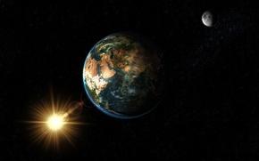 Картинка Солнце, Луна, Земля