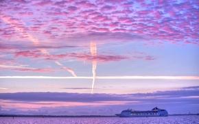 Картинка море, небо, облака, корабль, зарево, лайнер