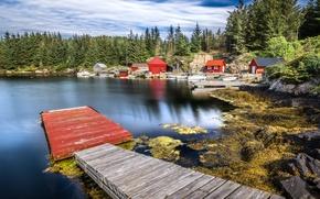 Картинка лес, деревья, озеро, камни, берег, лодки, причал, Норвегия, домики, Hordaland
