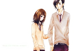 Картинка галстук, белый фон, румянец, школьники, смущение, Say i love you, Yamato Kurosawa, Mei Tachibana, Скажи …