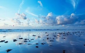 Обои море, облака, синий, Берег