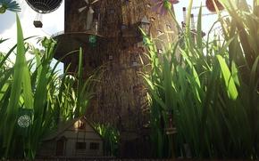 Картинка трава, цветы, воздушные шары, дерево, окна, дома, фонарь, ствол, поселение, гигантское