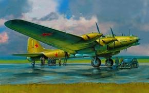 Картинка небо, тучи, рисунок, арт, аэродром, военные, экипаж, четырёхмоторный, советский, Пе-8, ВоВ, пассажирский вариант, высокопоставленные чиновники, …