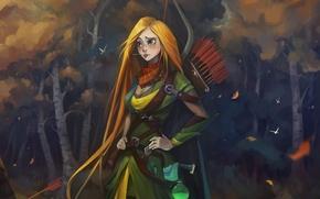 Картинка Windrunner, лучница, fan art, стрелы, fanart, волосы, dota 2, девушка, лес, платье, лук