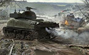 Картинка WoT, Шерман, Panther, World of Tanks, Мир Танков, Wargaming Net, Средние Танки, Sherman Firefly