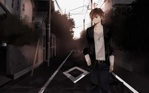 Картинка город, настроение, улица, аниме, парень