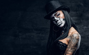 Обои female, makeup, pose, day of the dead, black hat, skull