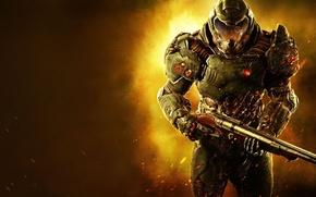 Картинка взгляд, оружие, солдат, броня, обрез, раны, Bethesda, DooM, id Software