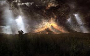 Картинка лес, гора, вулкан