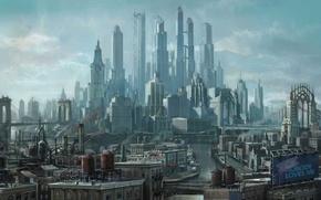Обои город, будущее, небоскребы, арт, мегаполис, Saints Row the Third