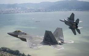 Картинка истребители, полёт, F-15 Eagle, F-22 Raptor