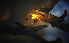 Картинка огонь, пламя, графика, истребитель, арт, бомбардировщик, самолёты, британский, стратегический, тяжелый, немецкий, WW2, четырехмоторный, Avro 683 …