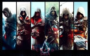 Картинка надпись, коллаж, игра, персонажи, Assassin's Creed