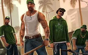Обои сиджей, gta, криминал, Grand theft auto, San Andreas, банда