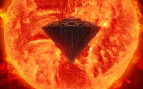 Картинка энергия, звезда, корабль, арт