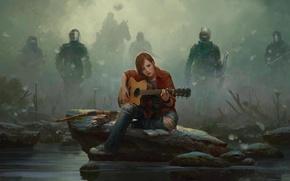 Картинка туман, камень, лошадь, рисунок, гитара, кеды, Девушка, джинсы, лук, Элли, щит, маски, стрелы, Marek Okon, ...