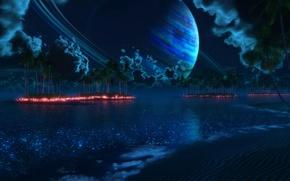 Обои пальмы, digital, планета, огни, ночь, nightfall, Tropic of Thetis, острова