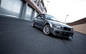 Картинка здание, бмв, серебристый, BMW, кабриолет, E46, передняя часть, silvery, Cabrio