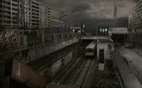 Обои контейнер, 155, железная дорога, вагоны, half-life