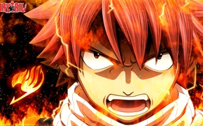 Картинка огонь, пламя, аниме, арт, ярость, Fairy Tail, Сказка о хвосте феи, Natsu Dragneel, deiviscc
