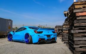 Обои Edition, Blue, 458, Ferrari, Rear, Liberty, Italia, Walk