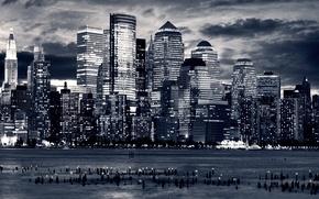 Обои дома, небоскрёбы, вода, вид, океан, города, америка, панорамные фотографии