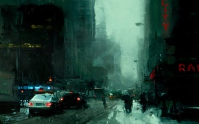 Картинка снег, город, улица, нуар, noir, jeremy mann