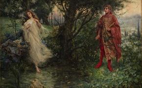 Картинка вода, деревья, цветы, люди, картина, художник, живопись, Salvatore Postiglione, dante-e-beatrice