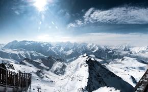 Картинка Солнце, Природа, Горы, Снег, Альпы