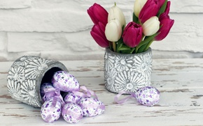 Картинка букет, Пасха, тюльпаны, Easter, Tulips, Eggs