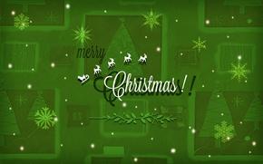 Обои Merry Christmas, елка, снежинки