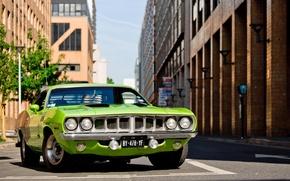 Картинка зеленый, 1971, green, плимут, Plymouth, Barracuda
