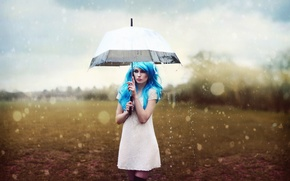 Картинка девушка, дождь, зонт