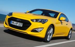 Обои Coupe, хёндай, передок, Genesis, желтый, Hyundai