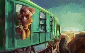 Картинка поезд, арт, пони, My Little Pony, Applejack, Sharpieboss