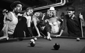 Обои соперничество, pocket billiard, black and white, vintage, ретро, Photo, чёрно-белое, парни, партия, бильярд, фото, девушки